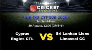 Online Cricket Betting – Free Tips   ECS T10 Cyprus 2020: 1st Semi-Final, Cyprus Eagles CTL vs Sri Lankan Lions Limassol CC