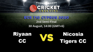 Online Cricket Betting – Free Tips | ECS T10 Cyprus 2020: 2nd Semi-Final, Riyaan CC vs Nicosia Tigers CC