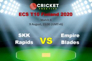 Online Cricket Betting – Free Tips   ECS T10 Finland 2020 – Match 6, SKK Rapids vs Empire Blades