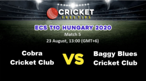 Online Cricket Betting – Free Tips | ECS T10 Hungary 2020: Match 5, Cobra Cricket Club vs Baggy Blues Cricket Club