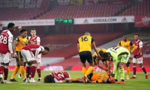 Arsenal's David Luiz and Raul Jimenez of Wolves were involved in a sickening head collision
